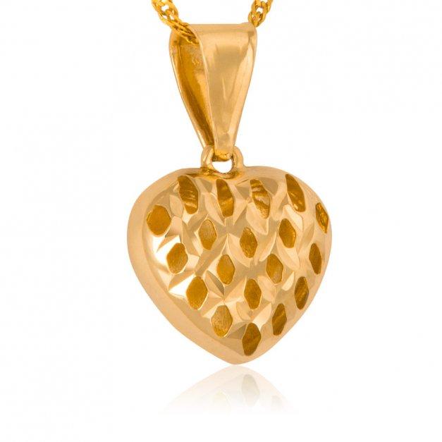 Złoty Komplet 585 Łańcuszek z Zawieszką Serce Grawer