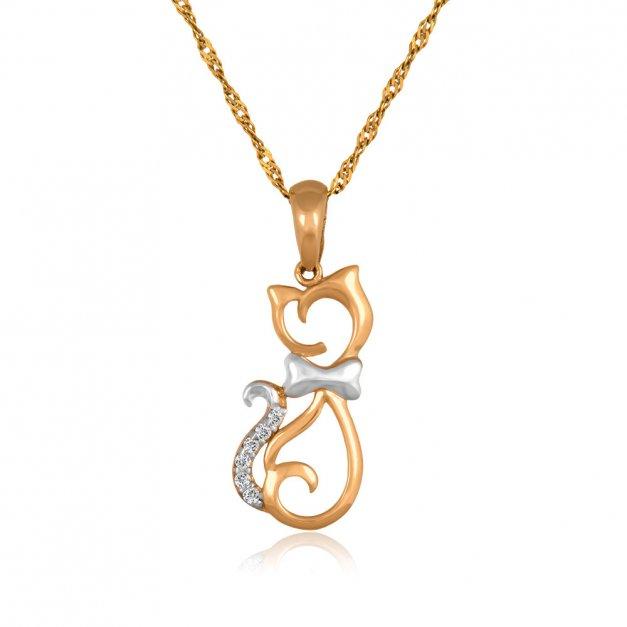Złoty Komplet 585 Łańcuszek z Zawieszką Ażurowy Kot Grawer