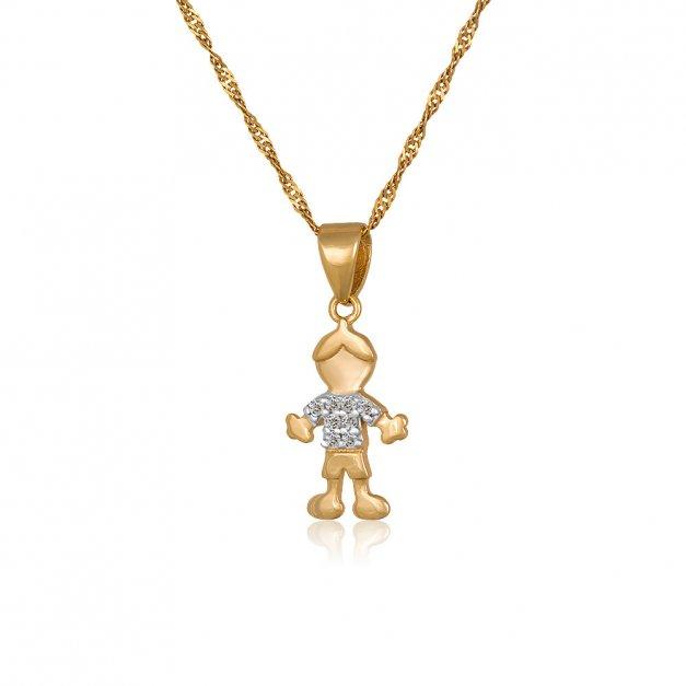 Złoty Komplet 333 Łańcuszek z Zawieszką Chłopiec Grawer