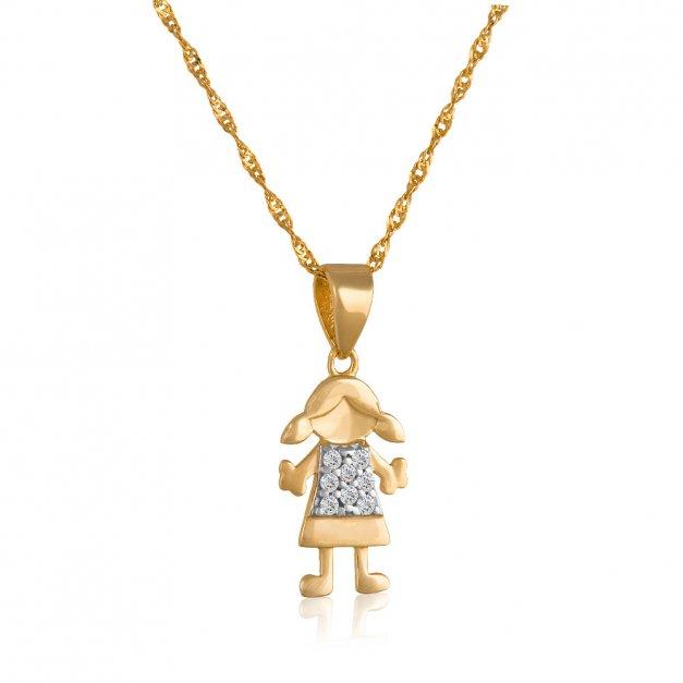 Złoty Komplet 333 Łańcuszek z Zawieszką Dziewczynka Grawer