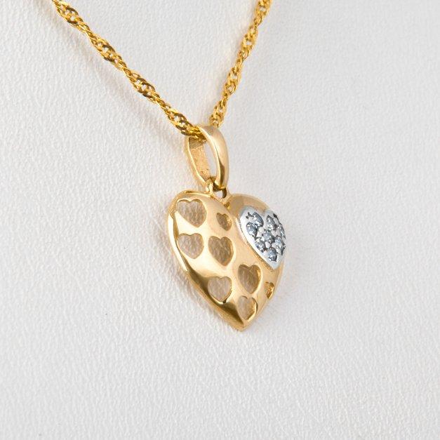 Złoty Komplet 333 Łańcuszek z Zawieszką Serce Cyrkonie Grawer