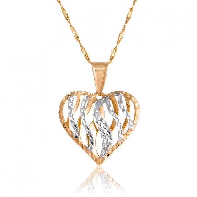 Złoty Komplet 333 Łańcuszek z Zawieszką Ażurowe Serce Grawer