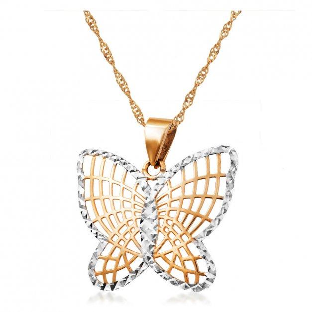 Złoty Komplet 333 Łańcuszek z Zawieszką Motylek Grawer