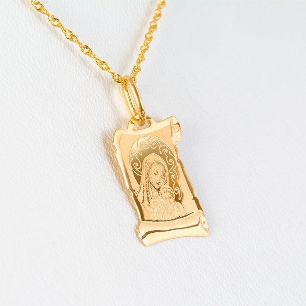 Złoty Medalik 585 Matka Boska z Łańcuszkiem Papirus Grawer