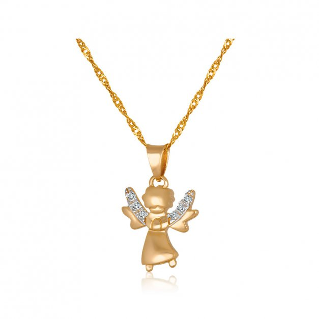 Złoty Medalik 585 Aniołek z Kryształkami Łańcuszek Grawer