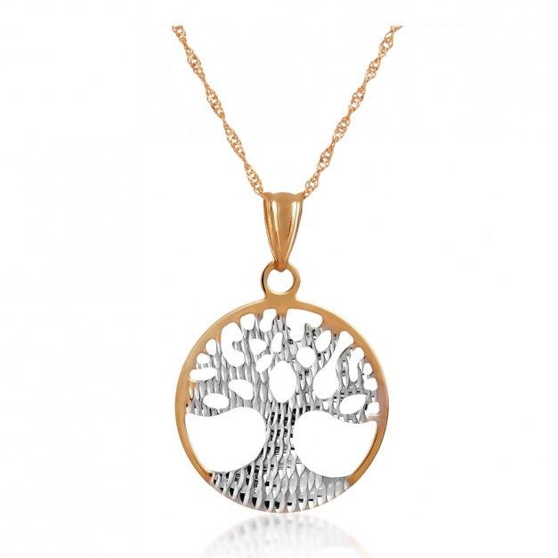 Złoty Komplet 333 Łańcuszek z Zawieszką Drzewko Szczęścia Grawer