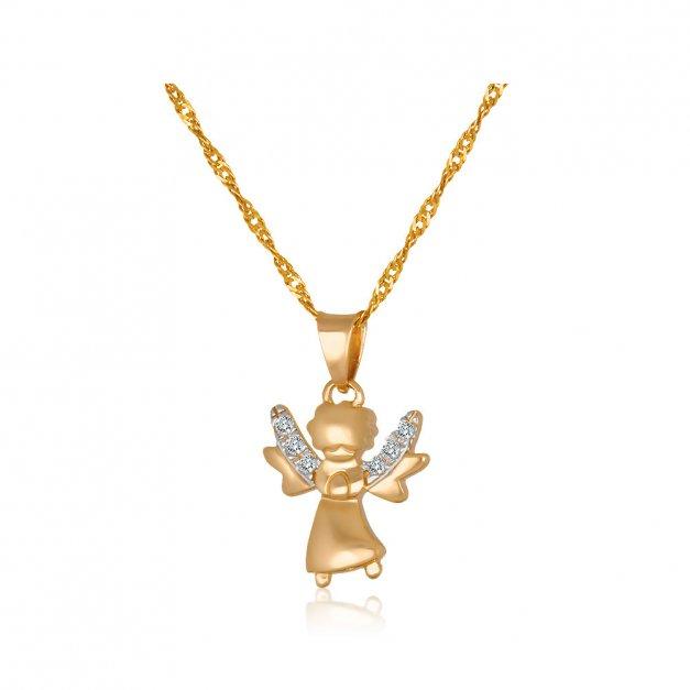 Złoty Komplet  333 Aniołek z Kryształkami Łańcuszek Grawer