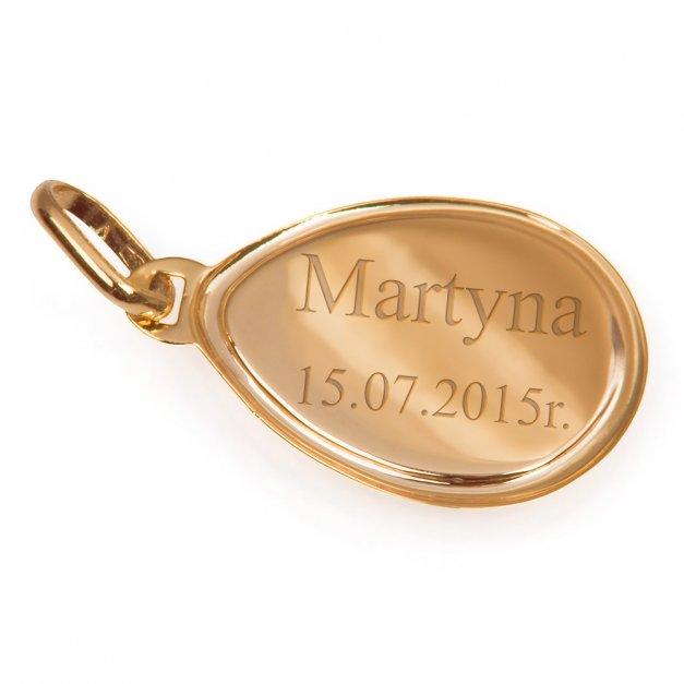 Złoty Medalik 333 Matka Boska Częstochowska Łańcuszek Grawer