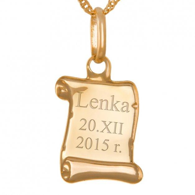 Złoty Medalik 333 Matka Boska Papirus Łańcuszek Grawer
