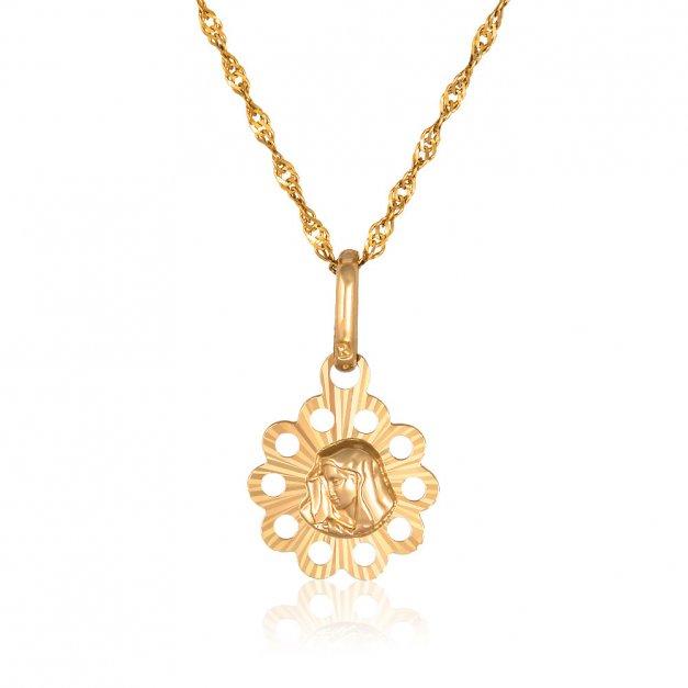 Złoty Medalik 585 Matka Boska z łańcuszkiem Ażur Grawer