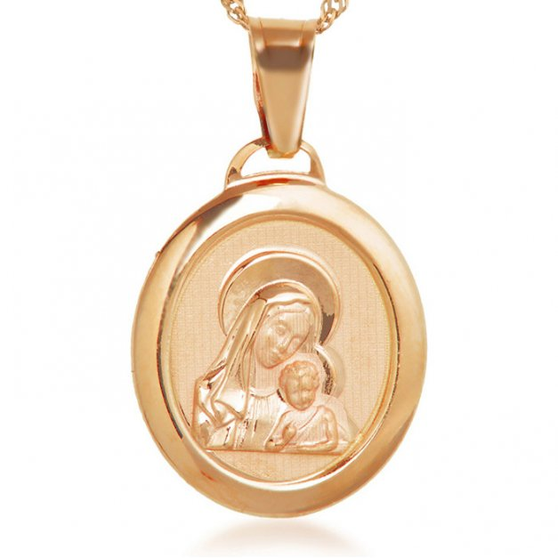 Złoty Medalik 585 Matka Boska z Łańcuszkiem Owal Grawer