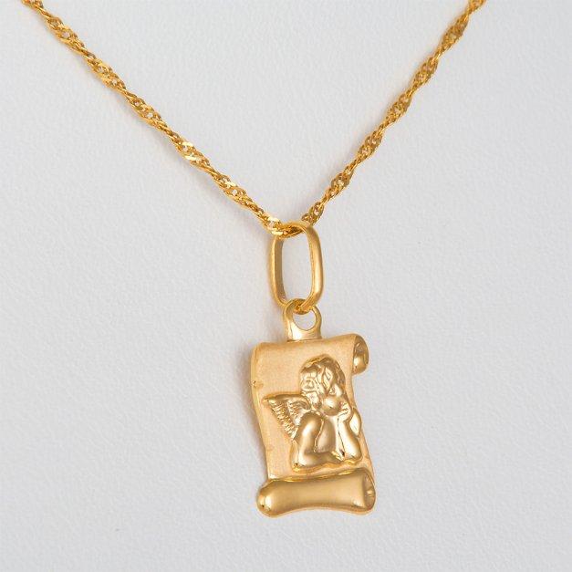Złoty Medalik 585 Aniołek na Papirusie Łańcuszek Grawer