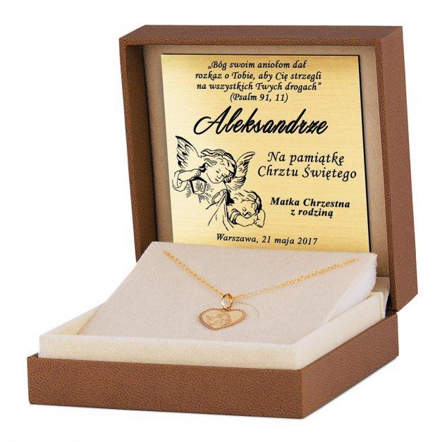 Złoty Medalik 585 Aniołek w Sercu z Łańcuszkiem Grawer