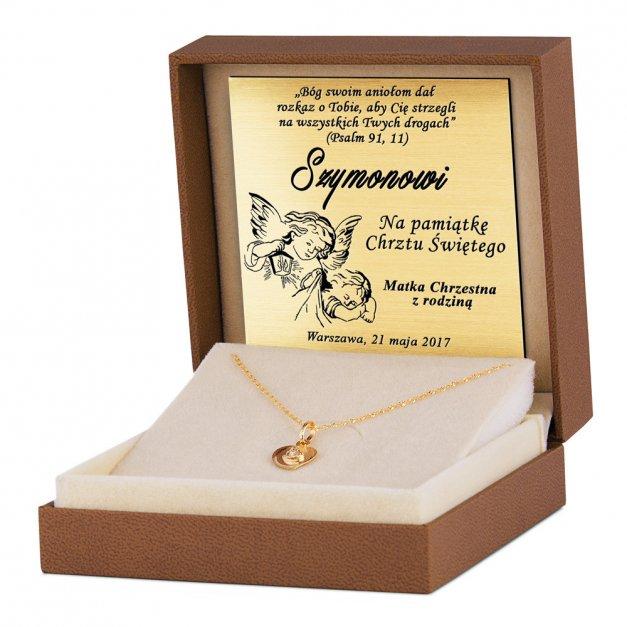 Złoty Medalik 585 Matka Boska w Sercu Łańcuszek Grawer