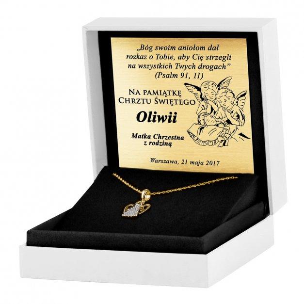 Złoty Medalik 333 Aniołek z Kryształkami Łańcuszek Grawer