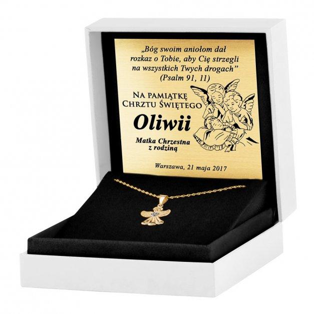 Złoty Medalik 333 Aniołek z Sercem Łańcuszek Grawer
