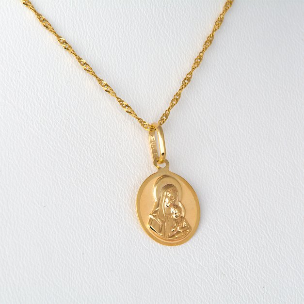 Złoty Medalik 333 Matka Boska z Łańcuszkiem Grawer