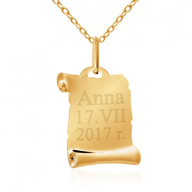 Złoty Medalik 333 Matka Boska na Papirusie Łańcuszek Grawer