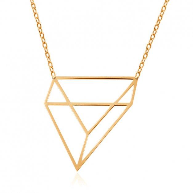 Złoty Naszyjnik Celebrytka 333 Modern 3D Geometria Grawer