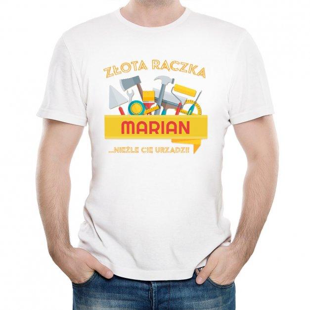 Koszulka Męska z Twoim Nadrukiem ZŁOTA RĄCZKA