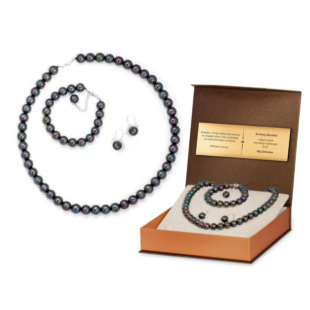 Komplet Srebrny Czarne Perły 925 Grawer