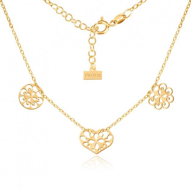 Złoty Naszyjnik Celebrytka 585 Sensual Trio Ażur Grawer