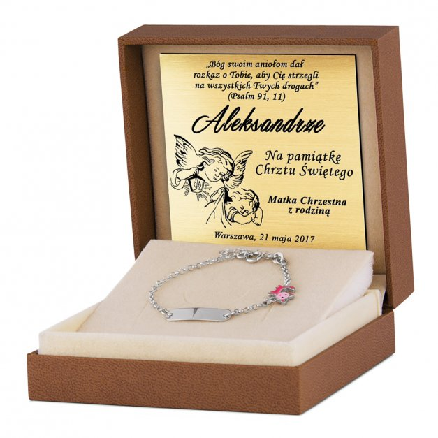 Srebrna Bransoletka 925 Różowy Kotek ID Grawer