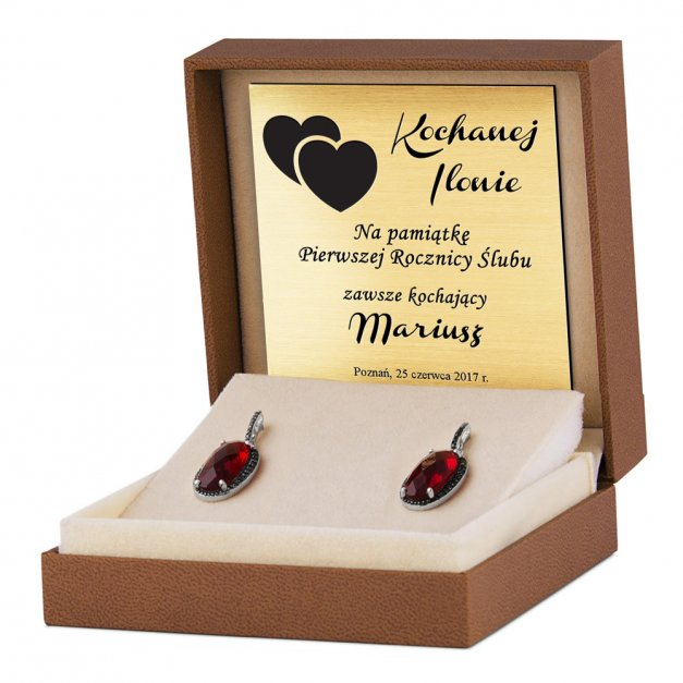 Srebrne Kolczyki 925 Madlen Czerwone Grawer