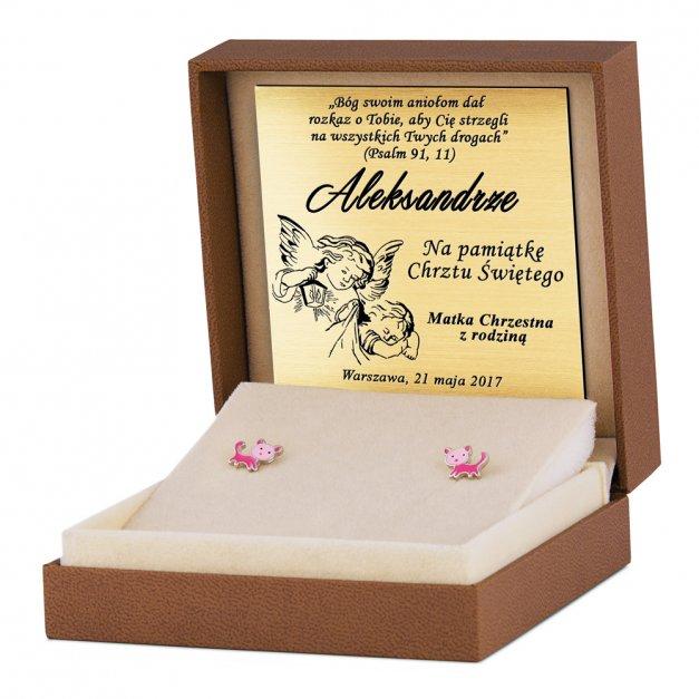 Srebrne Kolczyki 925 Różowe Kotki Grawer