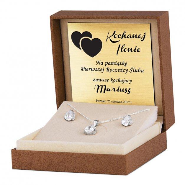 Srebrny Komplet 925 Naszyjnik i Kolczyki Kryształki Grawer
