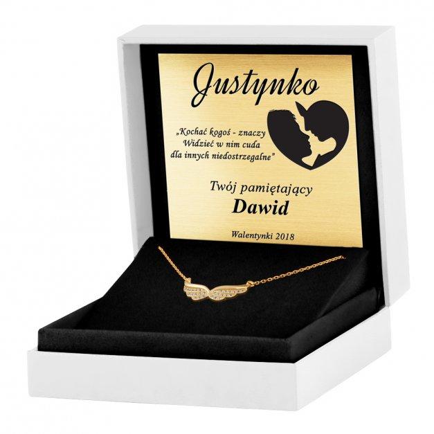 Srebrny Naszyjnik Złocony 925 Skrzydła Kryształki Grawer