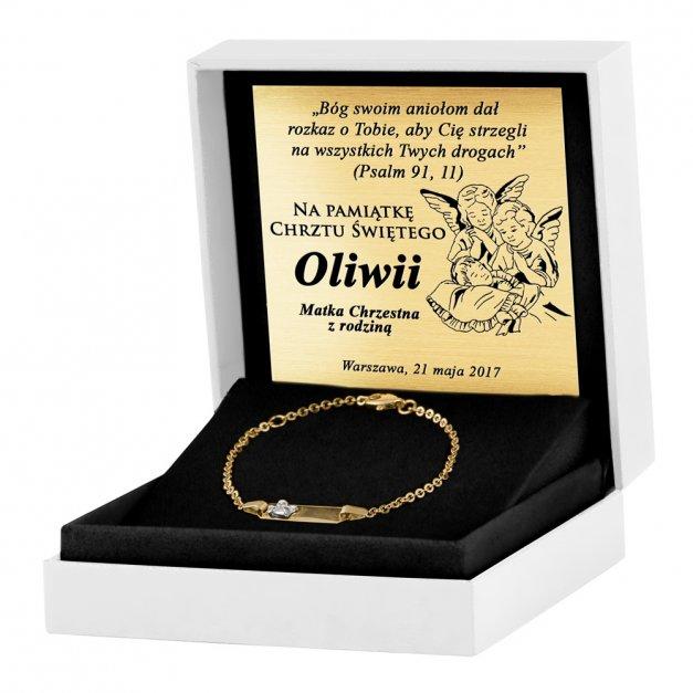 Złota Bransoletka 585 ID z Aniołkiem Dziecięca Grawer