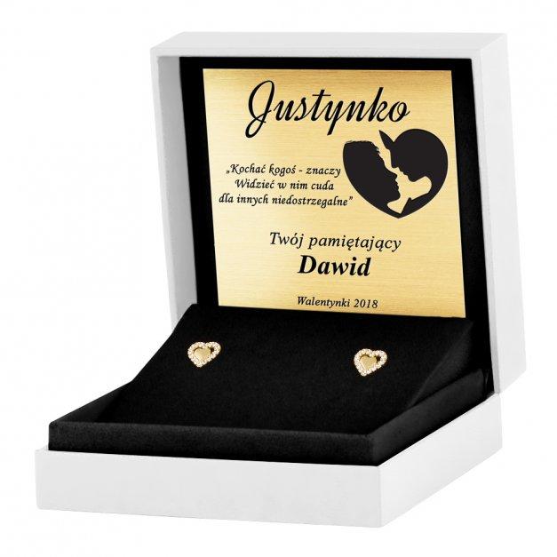 Złote Kolczyki 333 Serca z Kryształkami Grawer
