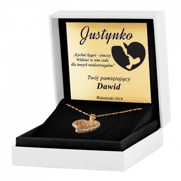 Złoty Komplet 585 Łańcuszek z Zawieszką Ażurowe Serce Grawer