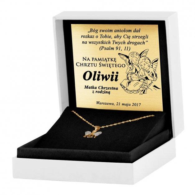 Złoty Medalik 333 Ażurowy Aniołek z Cyrkoniami Łańcuszek Grawer