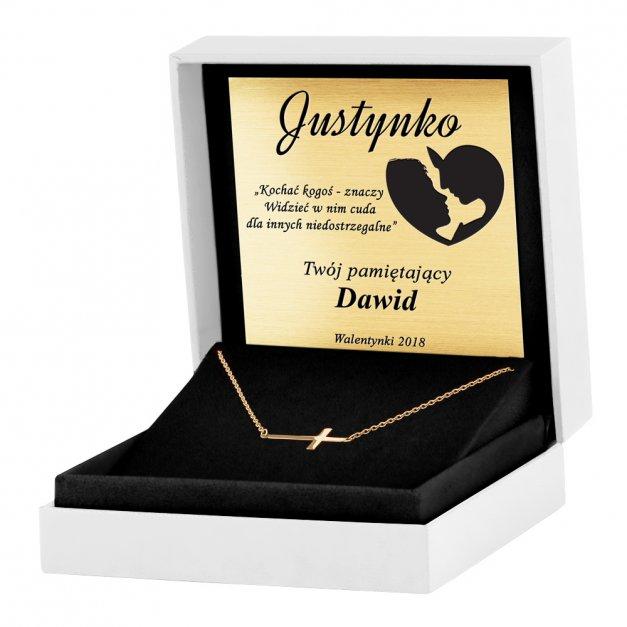 Złoty Naszyjnik 585 z Krzyżykiem Celebrytka Grawer