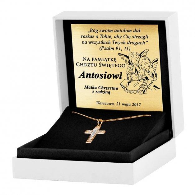Złoty Krzyżyk 333 Grande z Pasyjką Łańcuszek Grawer