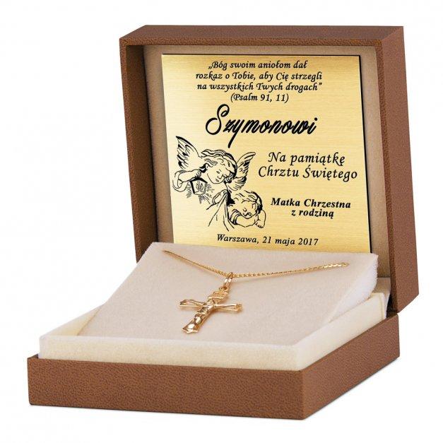 Złoty Krzyżyk 333 Ażurowy z Łańcuszkiem Grawer