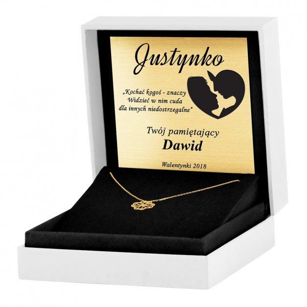 Złoty Naszyjnik Celebrytka 333 Sensual Ażurowa Koniczynka Grawer