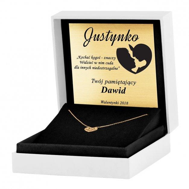 Złoty Naszyjnik Celebrytka 333 Sensual Ażurowe Serce Grawer