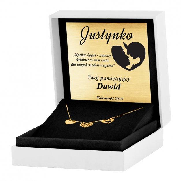 Złoty Naszyjnik Celebrytka 585 Sensual Trio Serca Ażur Grawer