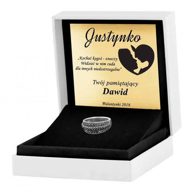 Srebrny Pierścionek 925 Onyx Grawer