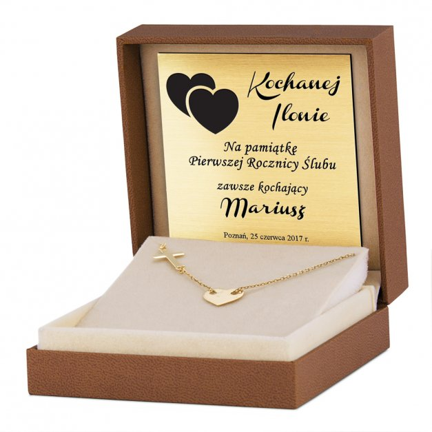 Srebrny Naszyjnik Złocony 925 Serce Krzyżyk Celebrytka Grawer