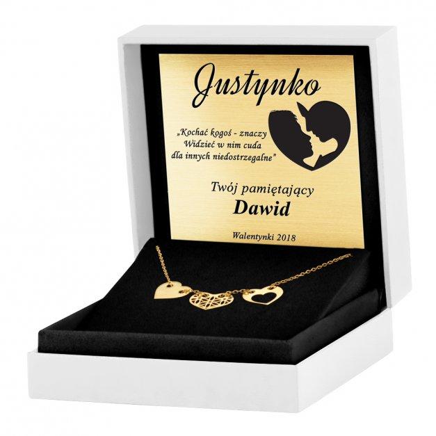 Srebrny Naszyjnik Złocony 925 Sensual Trio Ażur Grawer