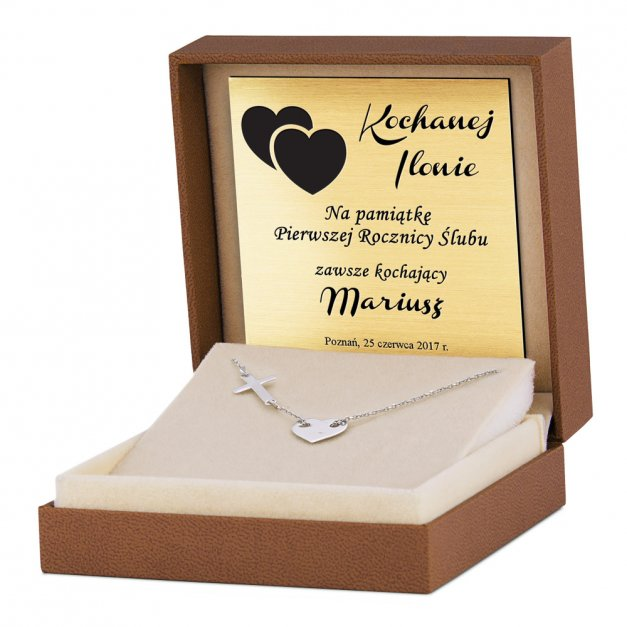 Srebrny Naszyjnik 925 Celebrytka Serce Krzyżyk Grawer