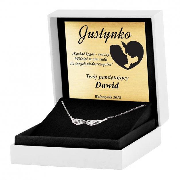 Srebrny Naszyjnik 925 Celebrytka Ażurowe Skrzydła Grawer