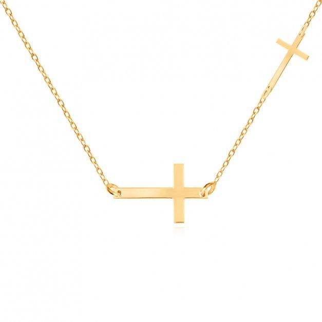 Srebrny Naszyjnik Złocony 925 Celebrytka Krzyżyk Grawer