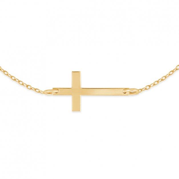 Srebrna Bransoletka Złocona 925 Krzyżyk Grawer