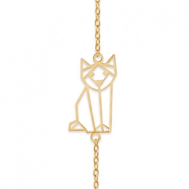 Srebrna Bransoletka Złocona 925 Geometryczny Kot Grawer