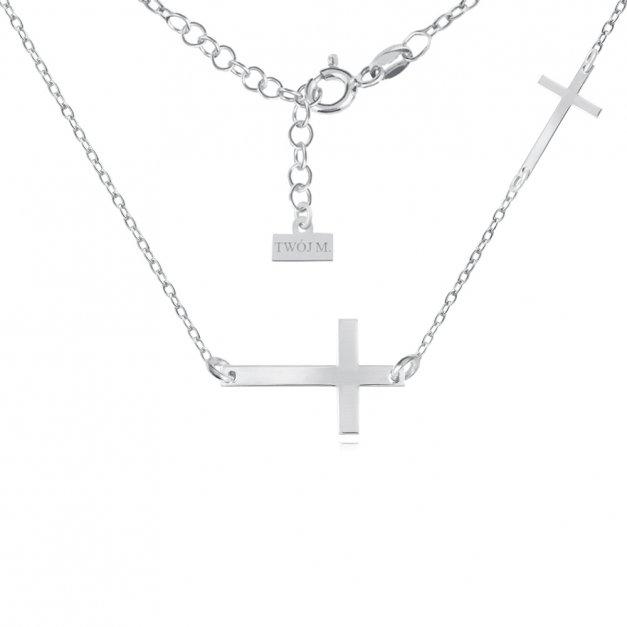 Srebrny Naszyjnik 925 Krzyżyk Grawer